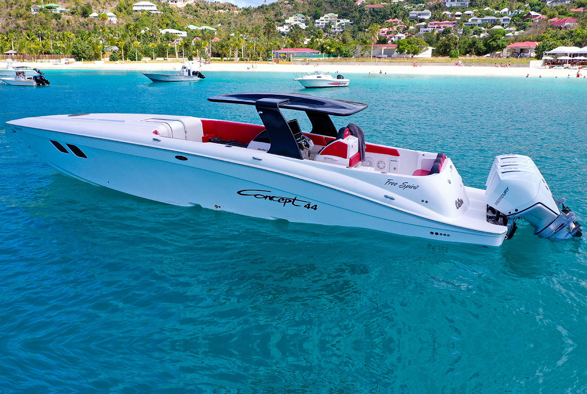 Concept 44 with a lavish interior and a wide hull give this boat a superior look